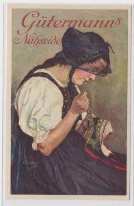 70304 Reklame AK Gütermann's Nähseide - nähende Dame in Tracht um 1940