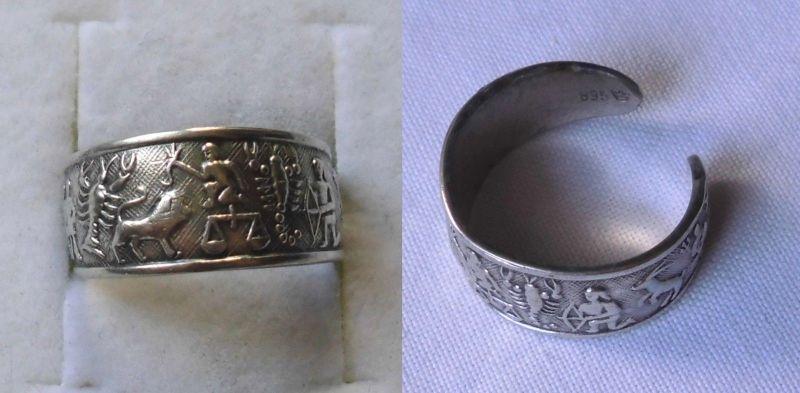 Stilvoller 835er Silber Ring Schmuckring mit Höhlenmalerei Verzierung (123670)