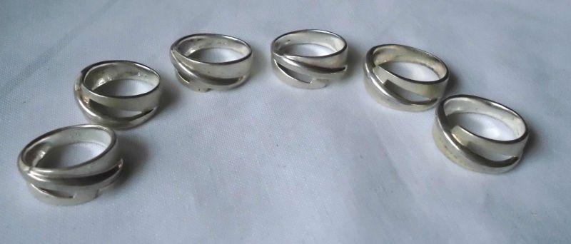Set aus 6 anziehenden 925er Sterling Silber Ringen matte Oberfläche (111395)