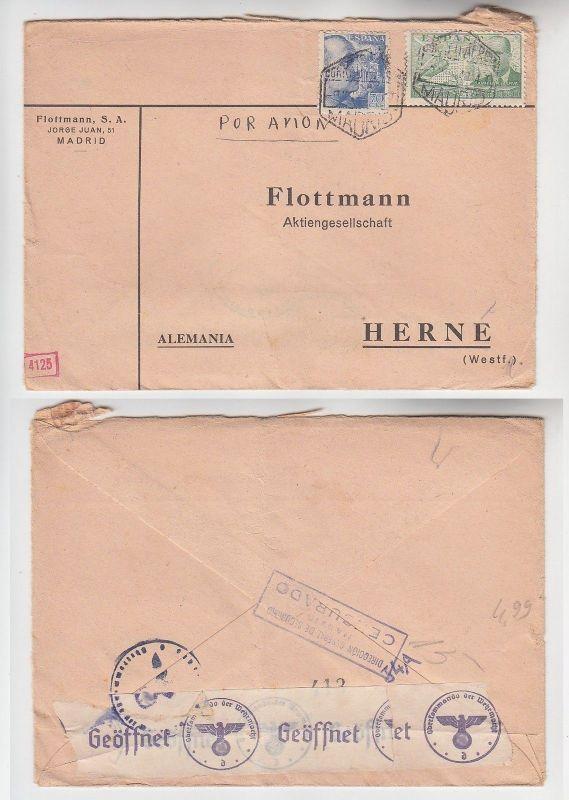 72551 seltener Zensur Post Brief von Madrid Spanien nach Herne in Westf. 1940