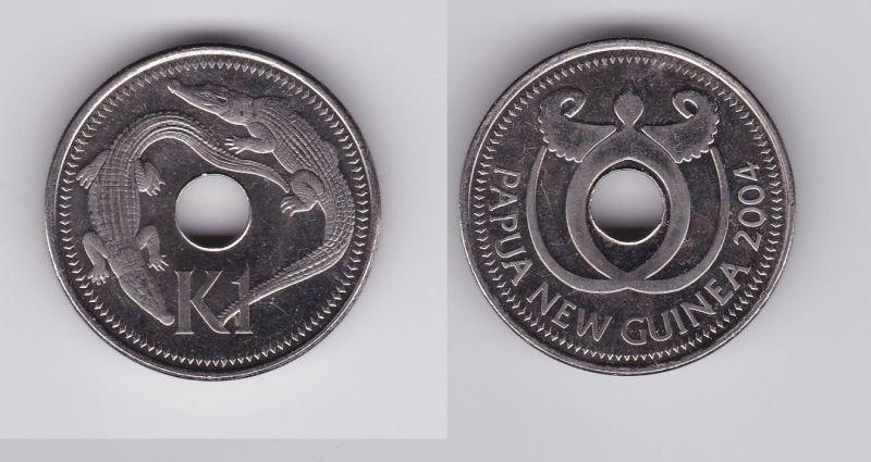 1 Kina Stahl Münze Papua Neuguinea Leistenkrokodil 2004 119954 Nr