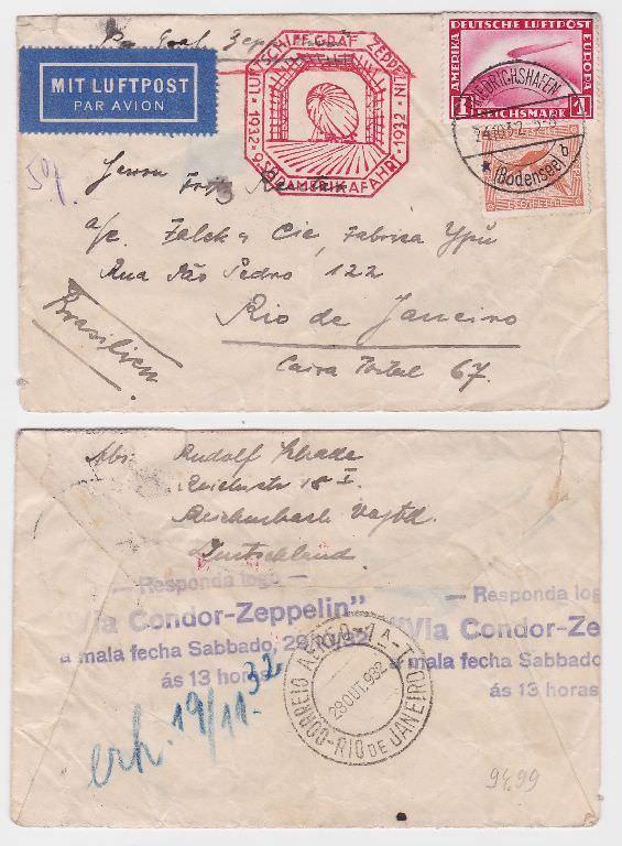 70942 seltener Zeppelinbrief von Reichenbach i.V nach Rio de Janeiro 1932