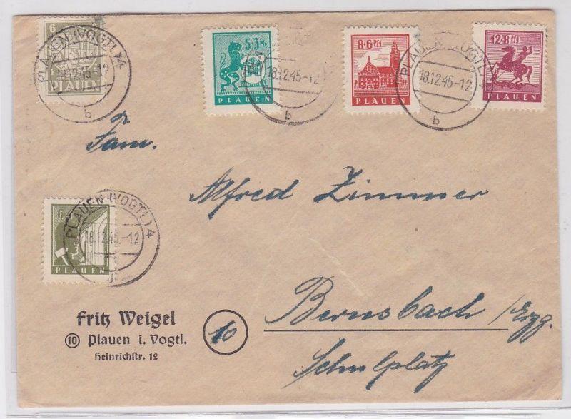 90358 Brief SBZ mit 5 Marken Plauen im Vogtland 18.12.1945