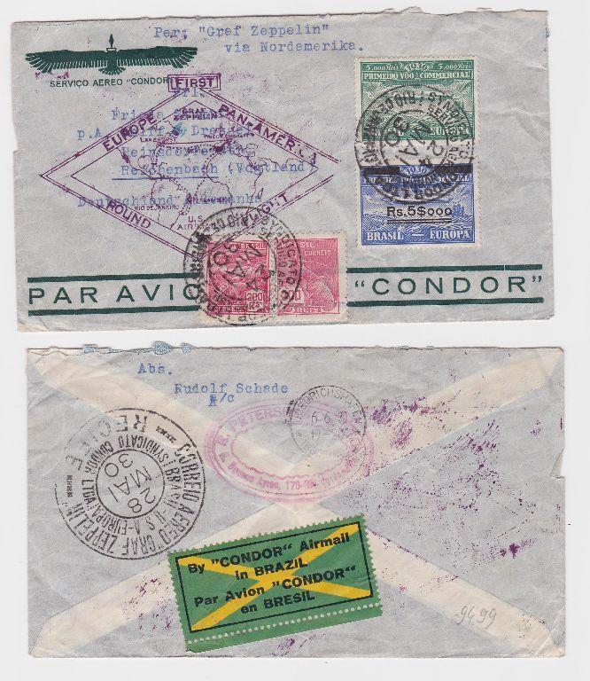 80577 seltener Zeppelinbrief von Rio de Janeiro nach Reichenbach i.V 1930