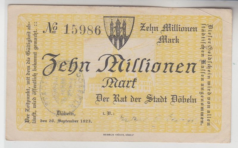 10 Millionen Mark Banknote Stadt Döbeln 20.September 1923 (113203)