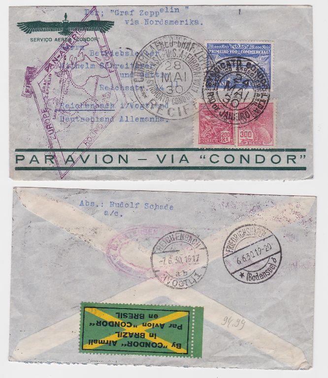 87108 seltener Zeppelinbrief von Rio de Janeiro nach Reichenbach i.V 1930