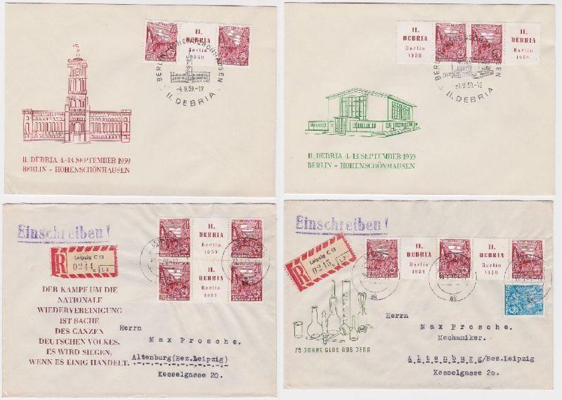 87294/4 Briefe mit Zusammendruck Varianten II.Debria 1959