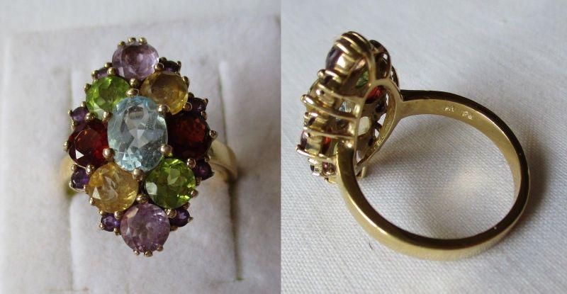 Auffälliger 925er Sterling Silber Ring mit vielen bunten Ziersteinen (124127)