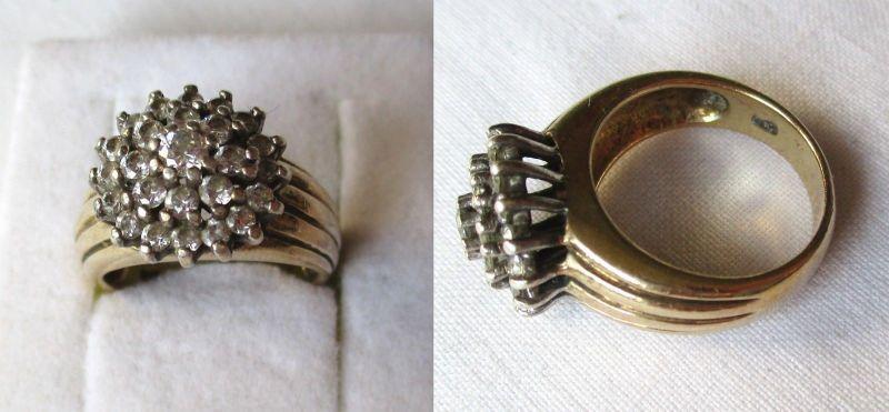 Eleganter vergoldeter 925er Silber Ring mit schön angeordneten Steinen (124115)