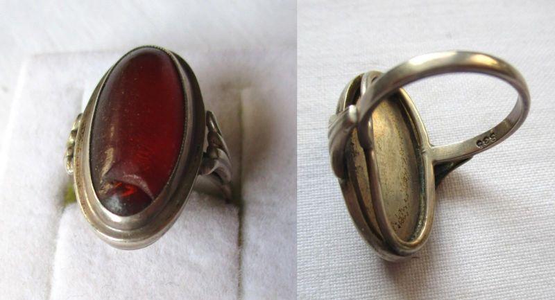 Auffallender 835er Silber Ring mit großem rot braunem Stein (120119)