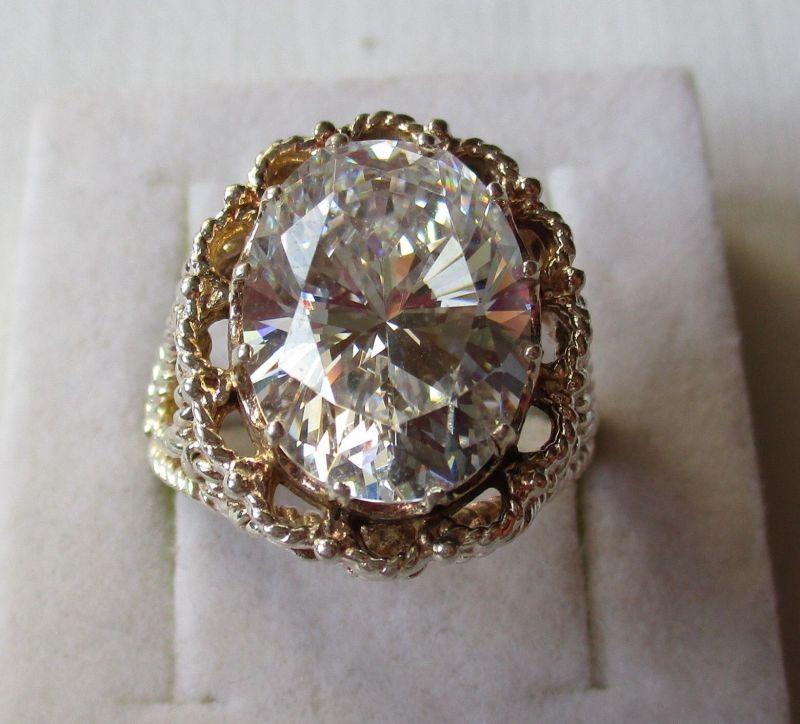 Auffälliger 925er Sterling Silber Ring mit riesigem Zierstein (124130)