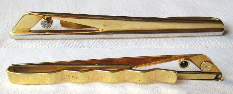 Alte stilvolle Krawattennadel aus 333er Gold mit kleinem Zierstein (124136)