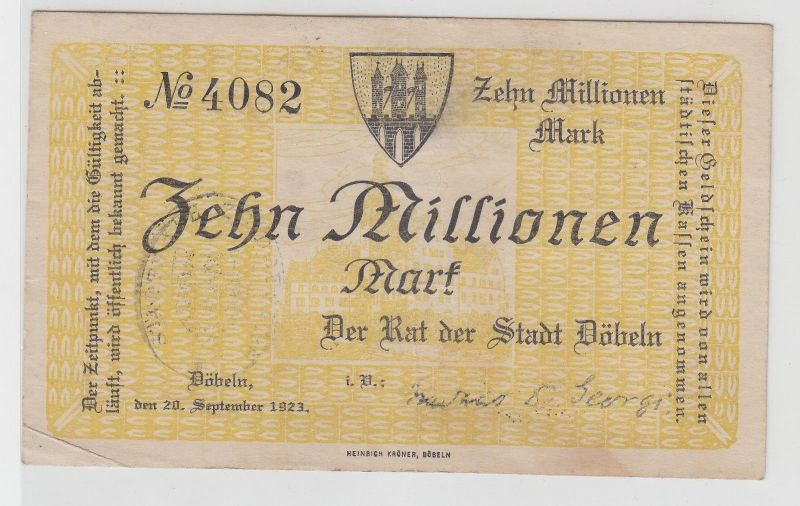 10 Millionen Mark Banknote Stadt Döbeln 20.September 1923 (113194)