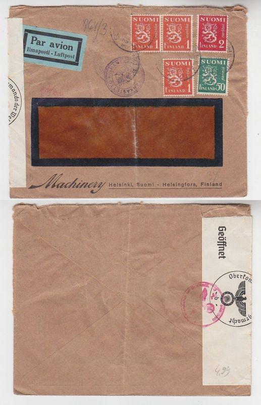 72594 seltener Zensur Post Brief von Helsinki Finnland nach Deutschland 1940
