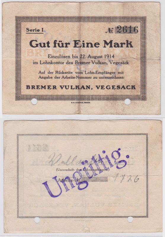 1 Mark Banknote Lohnschecks Bremer Vulkan Werft Vegesack 22.8.1914 (121181)