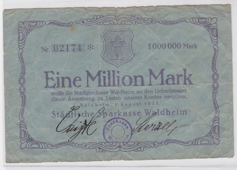 1 Million Mark Banknote städt. Sparkasse Waldheim 01.08.1923 (121479)