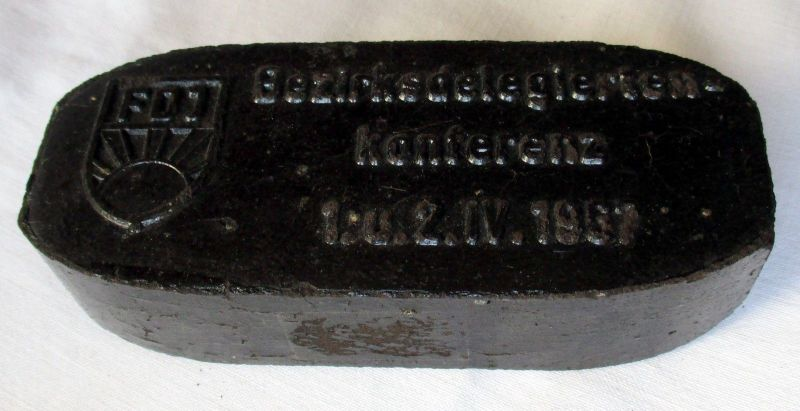 DDR Sammler Brikett FDJ Bezirksdelegiertenkonferenz 1967 (105209)