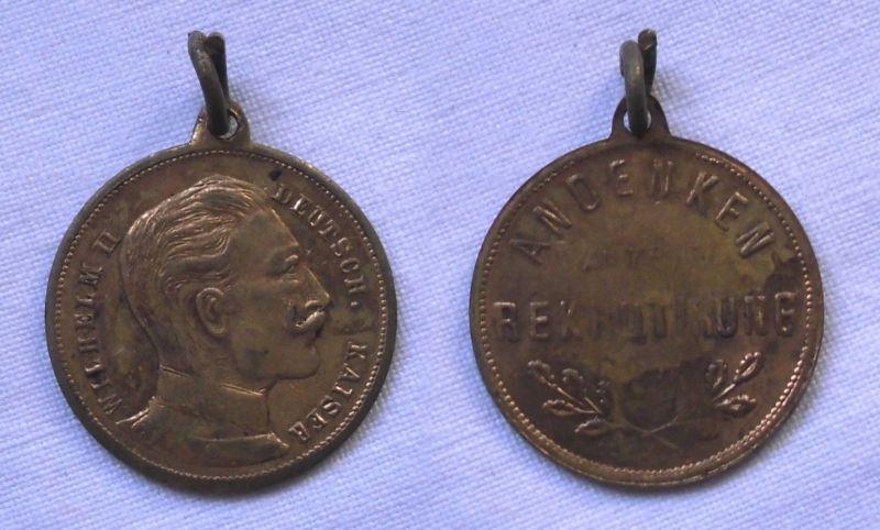 Medaille Als Andenken An Die Rekrutierung Deutscher Kaiser Wilhelm