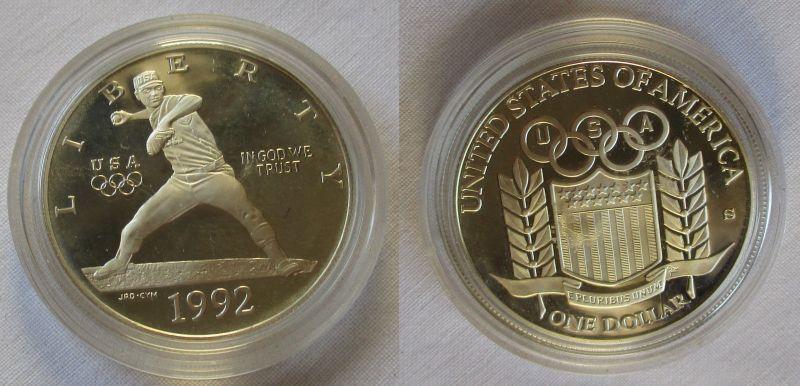 1 Dollar Silber Münze Usa 1992 S Olympiade Atlanta 109928 Nr