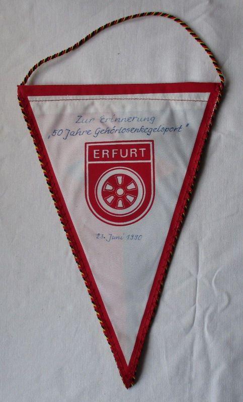 DDR Wimpel BSG Fortschritt Erfurt / 50 Jahre Gehörlosenkegelsport 1990 (114240) 1