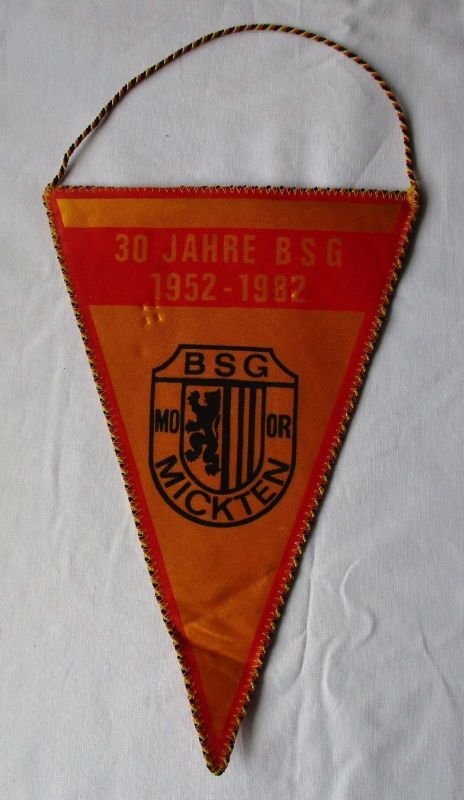 DDR Wimpel 30 Jahre BSG Motor Mickten 1952-1982 / DTSB DDR (112721)