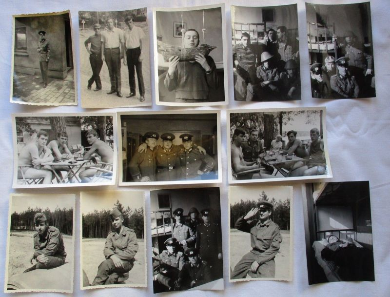 Konvolut aus 31 Original DDR NVA Aufnahmen, Scherzfotos der Soldaten (113863)