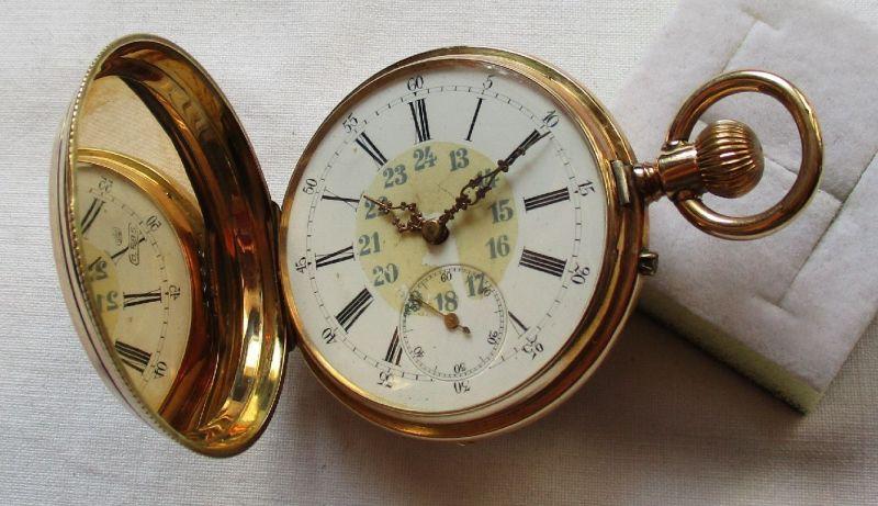 124139 Goldene Sprungdeckel Taschenuhr Remontoir Spiral Breguet 14K Gold um 1900