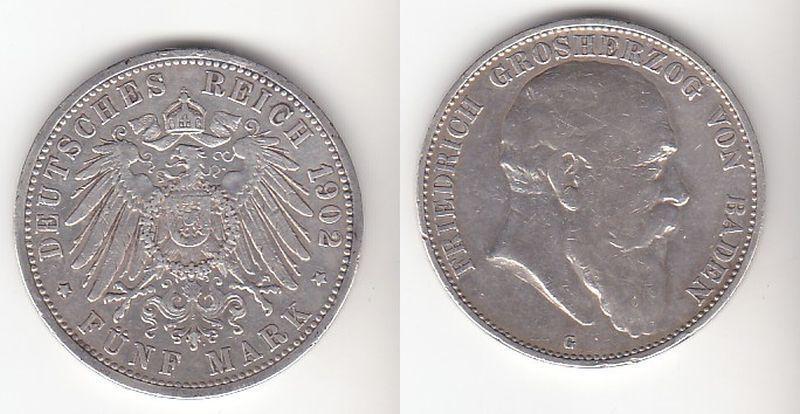 5 Mark Silbermünze Baden Großherzog Friedrich 1902 Jäger 33  (111332)