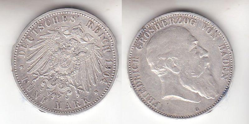 5 Mark Silbermünze Baden Großherzog Friedrich 1904 Jäger 33  (110868)