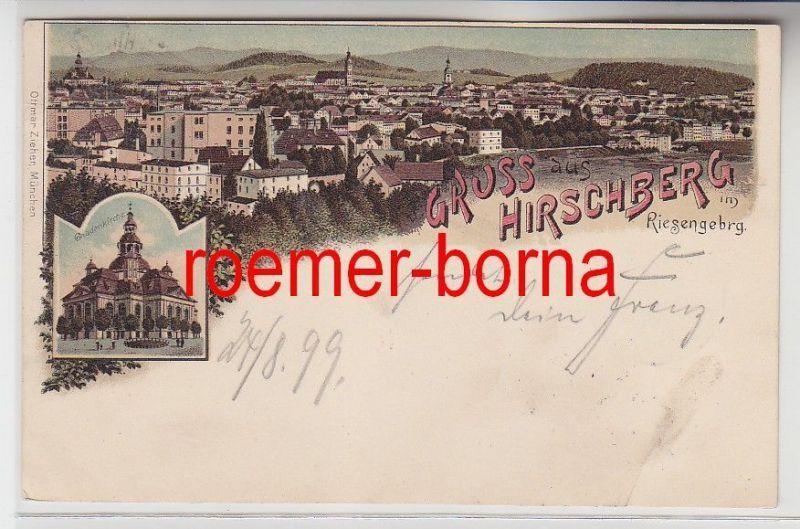 76870 Ak Lithografie Gruss aus Hirschberg im Riesengebirge Jelenia Góra 1899