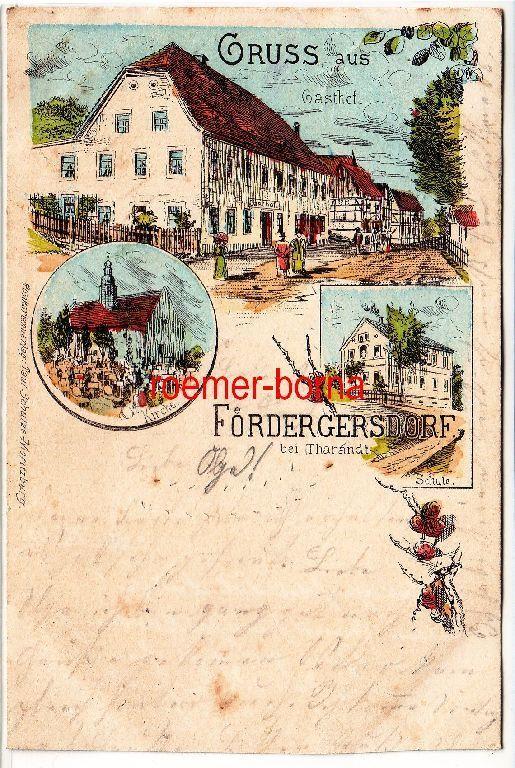 80813 Ak Lithografie Gruss aus Fördergersdorf bei Tharandt Gasthof usw. 1901