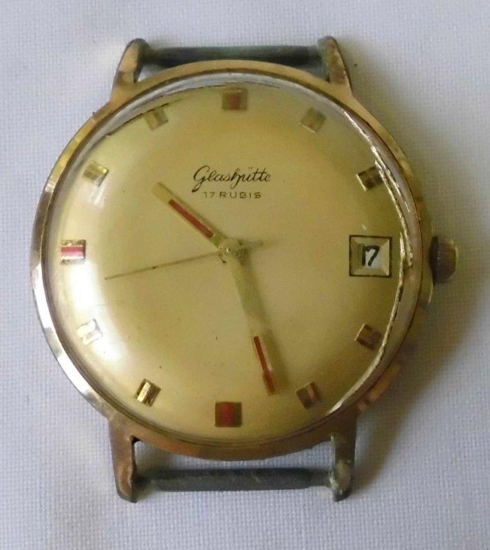 Seltene vergoldete Herren Armbanduhr Marke Glashütte (102258)