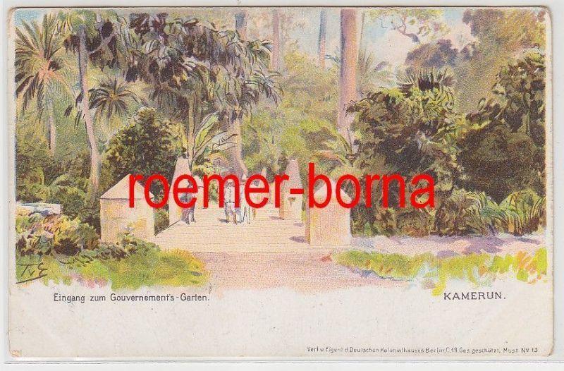80593 Künstler Ak Kamerun Eingang zum Gouvernements-Garten um 1900