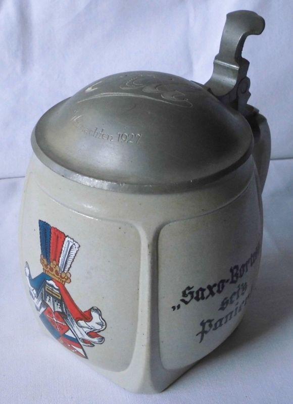 Seltener Studentika Keramik Bierkrug mit Zinndeckel Zwickau Weihnachten 1927