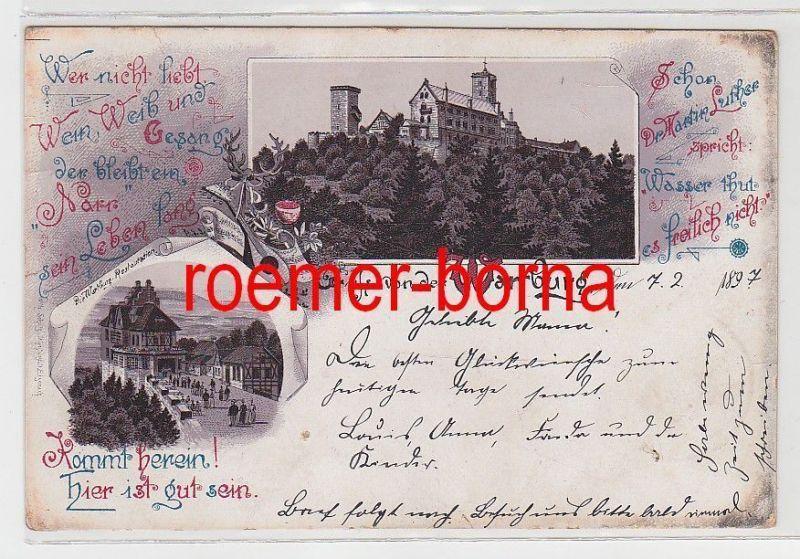 73876 Ak Lithographie Gruss von der Wartburg 1897