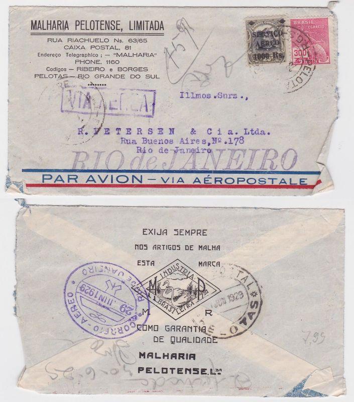 82181 seltener Luftpostbrief Brasilien Rio de Janeiro 1929