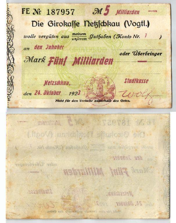 5 Milliarden Mark Banknote Inflation Girokasse Netzschkau 24.10.1923 (123618)
