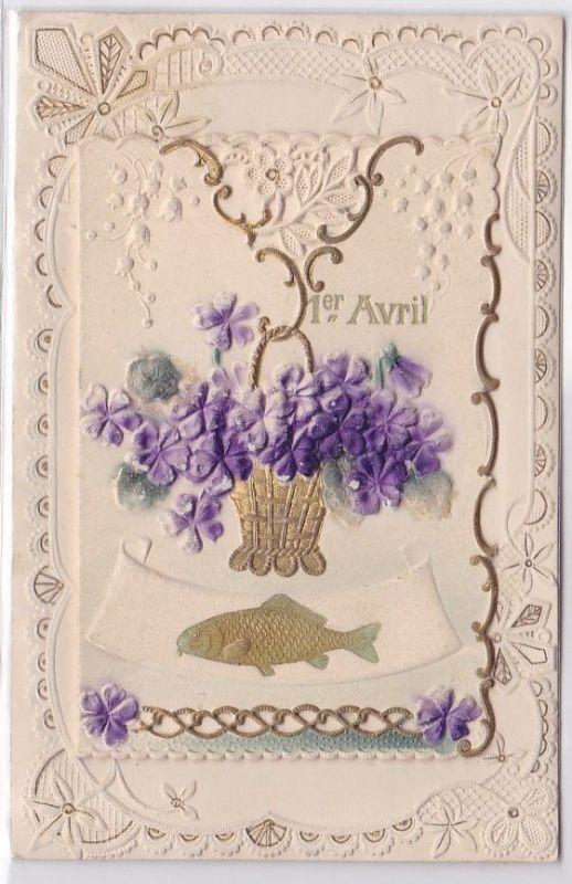 14466 Scherz AK 1. April mit französischem Spruch, Klappkarte mit Text im Innern