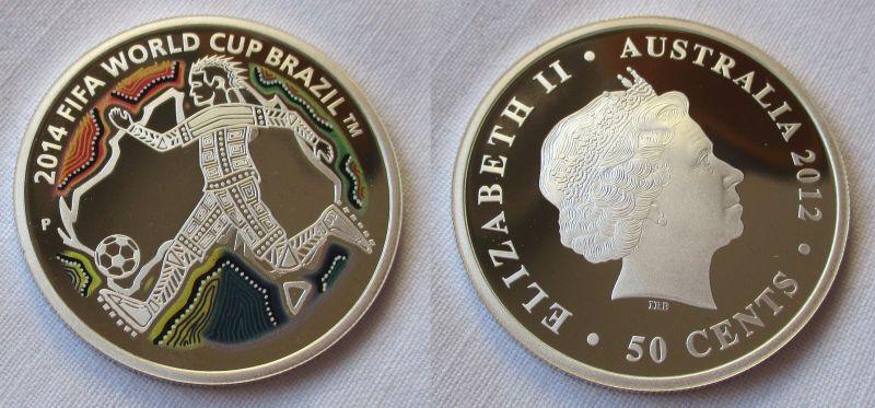 50 Cents Farb Silber Münze Australien 2012 Fussball Wm Brasilien