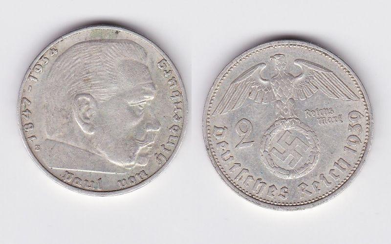 2 Mark Silber Münze 3.Reich Hindenburg 1939 E Jäger 366 (100951)