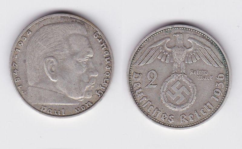 2 Mark Silber Münze 3.Reich Hindenburg 1936 D Jäger 366 (107265)