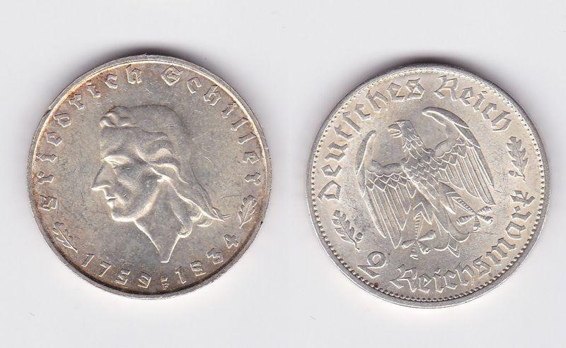 2 Mark Silber Münze Friedrich Von Schiller 1934 F 109822 Nr