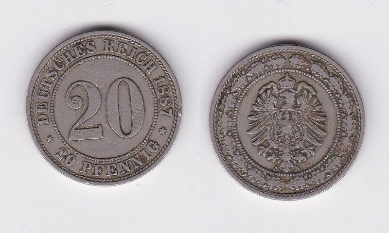 20 Pfennig Nickel Münze Kaiserreich 1887 A, Jäger 6  (113212)