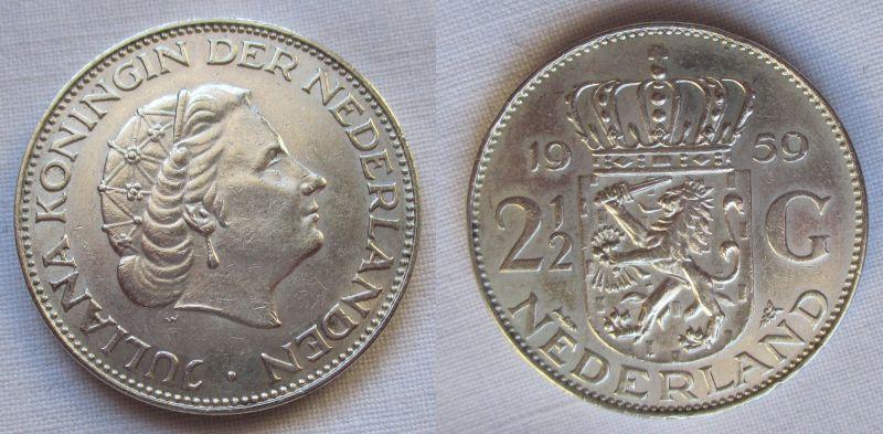2 1/2 Gulden Silber Münze Niederland 1959 (117671)