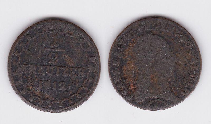 1/2 Kreuzer Kupfer Münze Österreich 1812 (114375)