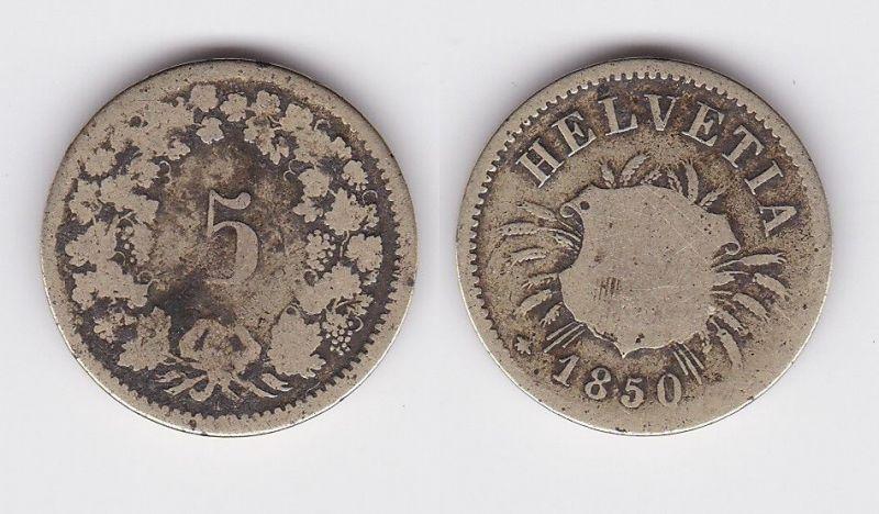 5 Rappen Kupfer Nickel Münze Schweiz 1850 B (119937)