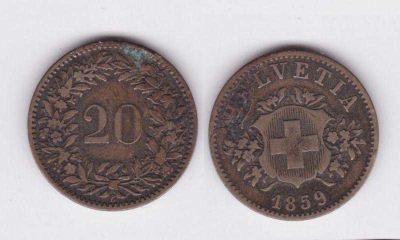 20 Rappen Kupfer Nickel Münze Schweiz 1859 B 118912 Nr