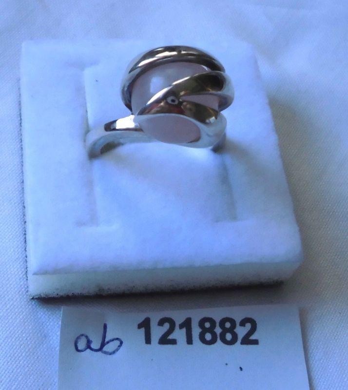 Prachtvoller Damen-Ring Silber 925 mit beweglicher rosa Perle (121882)