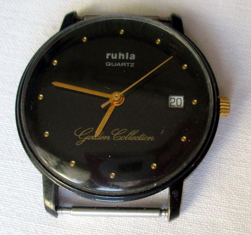 Ruhla Quartz Uhr DDR Rarität Unisex Uhr, Sammleruhr Golden Collection (113806)