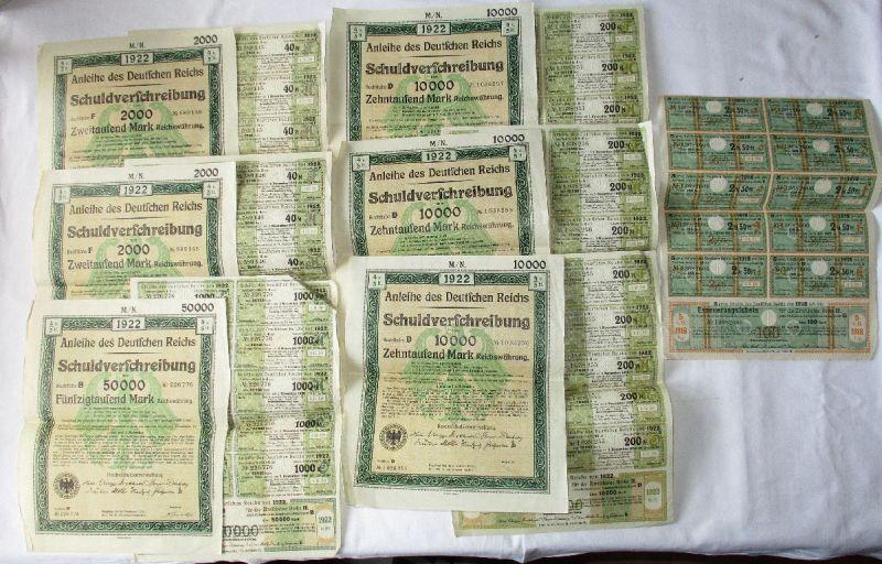 6 Schuldverschreibungen des Deutschen Reich mit Zinsscheinen 1922 (110311)
